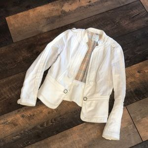 Anthro Elevenses White Linen Moto Military Jacket